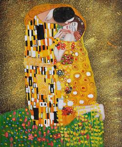 Gustav Klimt's the Kiss Oil Painting