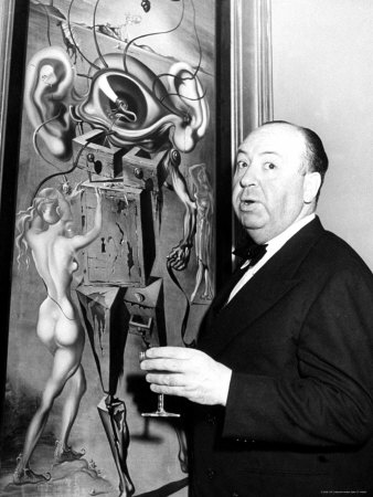 Film Director Alfred Hitchcock, Standing Beside Salvador Dali's Painting Movies