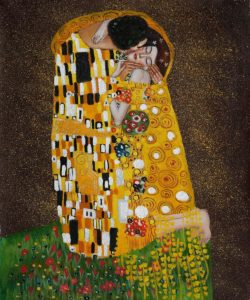 Klimt The Kiss Oil Painting (Full View)