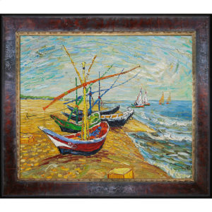 """Vincent van Gogh's ode to the Mediterranean sea village Saintes-Maries-de-la-Mer """"Fishing Boats on the Beach at Saintes-Maries"""" the most popular oil painting for dad"""