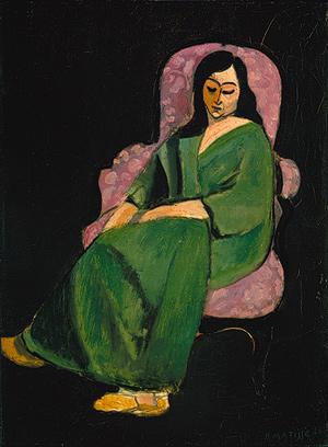 Henri Matisse - Lorette in a Green Robe against a Black Background