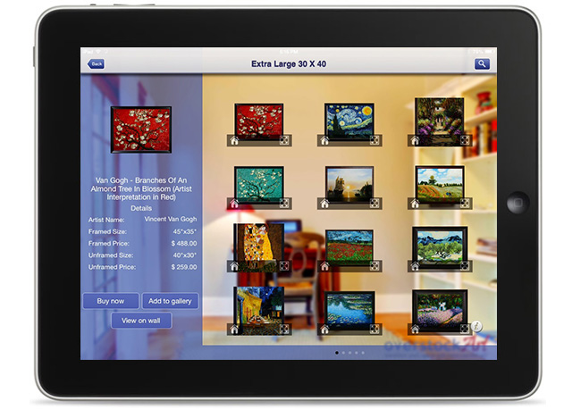 Our entire art database is available and on display via the iPad app giving iPad customers the ability to swipe and search through thousands of titles organized by artist, subjects, styles and sizes.