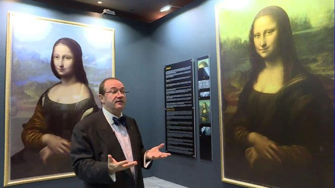 """The image on the left is a digital reconstruction of what Mr Cotte claims to have found underneath the Mona Lisa,"" says BBC. Photo courtesy Brinkworth Films."
