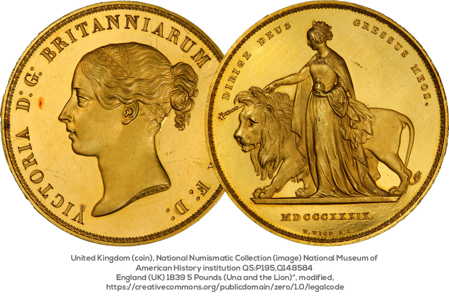 Five Pound Piece - 1893 - Una and the Lion