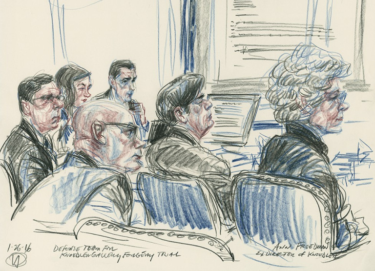 Ann Freedman courtroom illustration - Fake Art