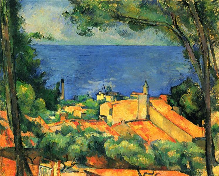 Paul_Cezanne-Red_Rooves_of_L'Estaque-Cox_Collection_Auction