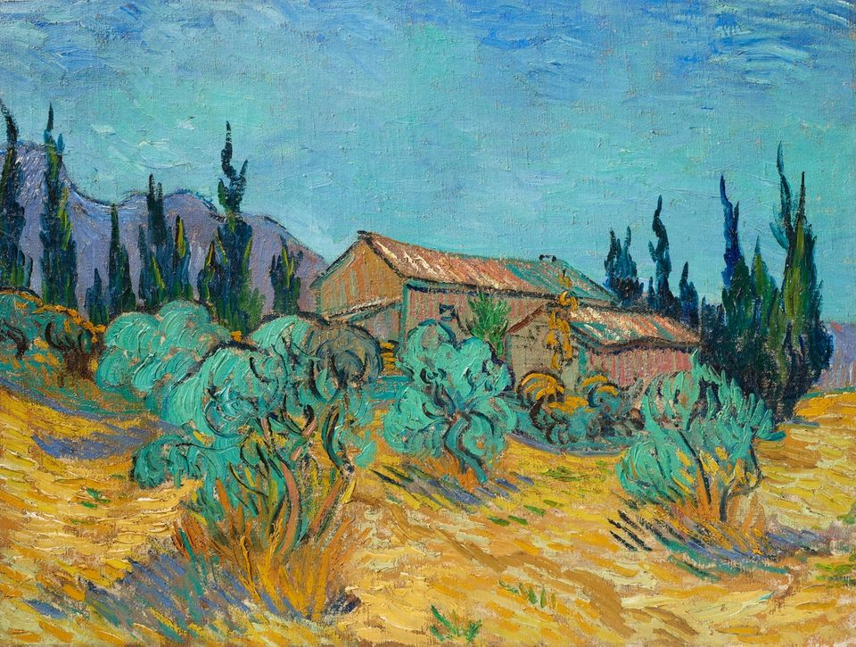 van_Gogh-Wooden_Huts_Among_Olive_Trees_and_Cypress_Trees-Cox_Collection_Auction